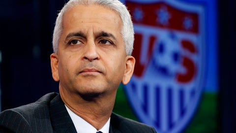 FILE - This Oct. 10, 2014, file photo shows Sunil Gulati, president of the United States Soccer Federation, during a press conference in Bristol, Conn. U.S. Soccer Federation president Sunil Gulati will not seek a fourth term, announcing his decision two months after the Americans failed to qualify for next year's World Cup. The 58-year-old Gulati, who announced his decision Monday, Dec. 4, 2017 has been a driving force in the USSF for more than 30 years. (AP Photo/Elise Amendola, File)