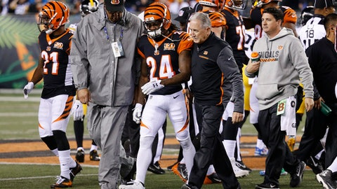 Cincinnati Bengals cornerback Adam Jones (24) is helped off the field after an apparent injury in the first half of an NFL football game against the Pittsburgh Steelers, Monday, Dec. 4, 2017, in Cincinnati. (AP Photo/Frank Victores)