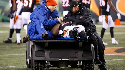 Cincinnati Bengals outside linebacker Vontaze Burfict is carted off the field after an apparent injury in the second half of an NFL football game against the Pittsburgh Steelers, Monday, Dec. 4, 2017, in Cincinnati. (AP Photo/Frank Victores)