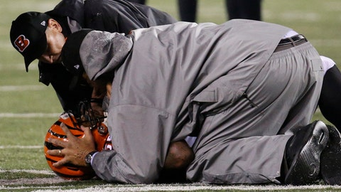 Cincinnati Bengals outside linebacker Vontaze Burfict (55) lies on the field after an apparent injury in the second half of an NFL football game against the Pittsburgh Steelers, Monday, Dec. 4, 2017, in Cincinnati. (AP Photo/Frank Victores)
