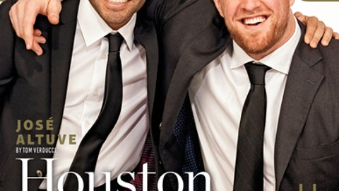 This image provided by Sports Illustrated shows the cover for the December issue of the magazine, featuring Houston Astros' Jose Altuve, left, and Houston Texans' J.J. Watt. On Monday, Dec. 4, 2017, the two were honored by Sports Illustrated when they were given the magazine's prestigious Sportsperson of the Year award. (Sports Illustrated via AP)