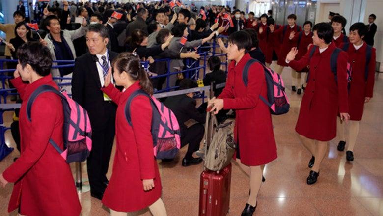 North Korean national soccer teams in Japan for tournament