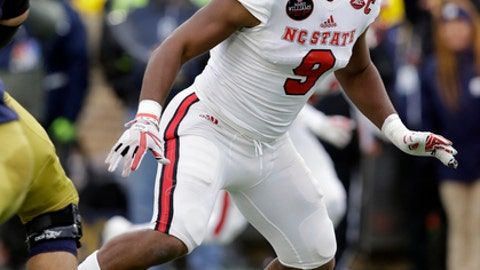 FILE - In this Oct. 28, 2017, file photo, North Carolina State defensive end Bradley Chubb (9) follows the play during the first half of an NCAA college football game against Notre Dame, in South Bend, Ind. Chubb was selected to the AP All-Conference ACC team announced Tuesday, Dec. 5, 2017. (AP Photo/Darron Cummings, File)
