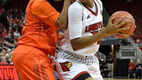 Louisville forward Bionca Dunham (33) looks for teammates from the defense of Tennessee-Martin forward Chelsey Perry (20) during the first half of an NCAA college basketball game, Tuesday, Dec. 5, 2017, in Louisville, Ky. (AP Photo/Timothy D. Easley)