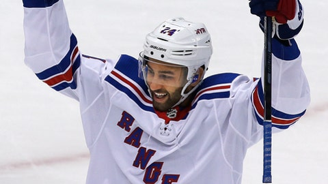 New York Rangers' Boo Nieves celebrates his goal in the first period of an NHL hockey game against the Pittsburgh Penguins in Pittsburgh, Tuesday, Dec. 5, 2017. (AP Photo/Gene J. Puskar)