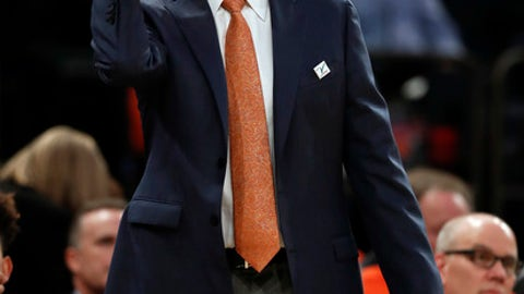 Syracuse head coach Jim Boeheim motions to players during the first half of an NCAA college basketball game against Connecticut, Tuesday, Dec. 5, 2017, in New York. (AP Photo/Julie Jacobson)