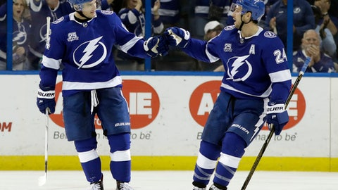Tampa Bay Lightning left wing Chris Kunitz (14) celebrates his goal against the New York Islanders with right wing Ryan Callahan (24) during the third period of an NHL hockey game Tuesday, Dec. 5, 2017, in Tampa, Fla. The Lightning won the game 6-2. (AP Photo/Chris O'Meara)