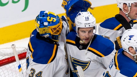 St. Louis Blues goaltender Jake Allen and Brayden Schenn celebrate their 4-3 victory following an NHL hockey game against the Montreal Canadiens, Tuesday, Dec. 5, 2017 in Montreal. (Paul Chiasson/The Canadian Press via AP)