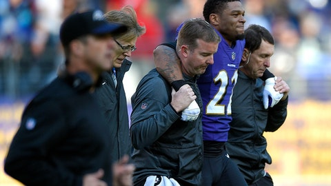 FILE - In this Sunday, Dec. 3, 2017, file photo, Baltimore Ravens cornerback Jimmy Smith is assisted off the field after he was injured in the first half of an NFL football game against the Detroit Lions in Baltimore. The loss of Smith puts added pressure on the Ravens pass defense, which should have its hands full trying to cover Pittsburgh's Antonio Brown on Sunday night (AP Photo/Nick Wass, File)