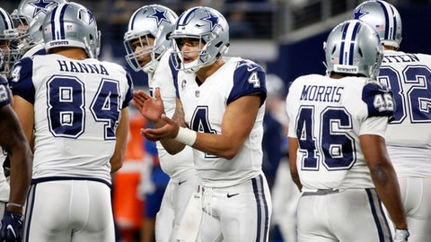FILE - In this Thursday, Nov. 30, 2017, file photo, Dallas Cowboys quarterback Dak Prescott (4) breaks a huddle in the second half of an NFL football game against the Washington Redskins in Arlington, Texas. Prescott finally has a win without backfield mate Ezekiel Elliott. The Dallas quarterback still has two games without the suspended star, and no margin for error if he wants to get the Cowboys back to the playoffs. By(AP Photo/Michael Ainsworth, File)