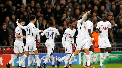 Tottenham's players celebrated a goal against APOEL during the Champions League Group H soccer match between Tottenham and APOEL Nicosia in London, Wednesday, Dec. 6, 2017. (AP Photo/Frank Augstein)