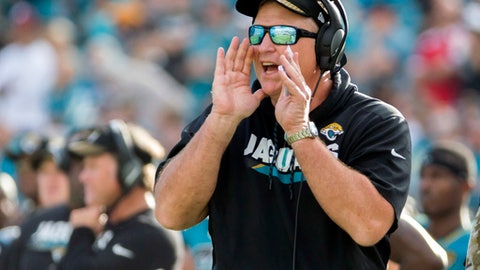 FILE - In this Nov. 5, 2017, file photo, Jacksonville Jaguars head coach Doug Marrone shouts a players from the sidelines during the second half of an NFL football game against the Cincinnati Bengals in Jacksonville, Fla. After coach Marrone disclosed his love of bologna and cheese sandwiches, the National Hot Dog and Sausage Council sent 100 logs of beef bologna to the stadium. (AP Photo/Stephen B. Morton, File)