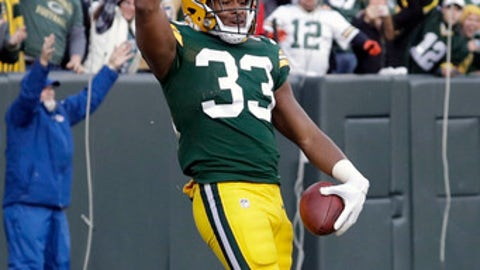 In this Sunday, Dec. 3, 2017 file photo, Green Bay Packers' Kevin King celebrates his touchdown run during overtime of an NFL football game against the Tampa Bay Buccaneers in Green Bay, Wis. Kevin King's season is over after the Green Bay Packers placed the rookie cornerback on injured reserve with a shoulder injury. (AP Photo/Morry Gash, File)