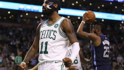 BOSTON, MA - DECEMBER 6: Kyrie Irving #11 of the Boston Celtics celebrates during the second half against the Dallas Mavericks at TD Garden on December 6, 2017 in Boston, Massachusetts. The Celtics defeat the Mavericks 97-90. (Photo by Maddie Meyer/Getty Images)