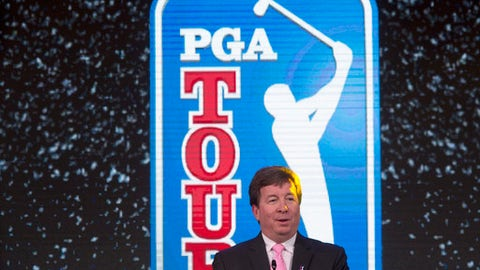 Greg Gilligan, PGA Tour's Greater China managing director, speaks during a signing ceremony at a hotel in Beijing Thursday, Dec. 7, 2017. The PGA Tour has signed a deal to partner with Chinese firm Shankai Sports to manage the operations of its China series for 20 years from 2018. (AP Photo/Ng Han Guan)