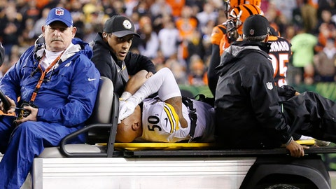 FILE - In this Monday, Dec. 4, 2017, file photo, Pittsburgh Steelers inside linebacker Ryan Shazier (50) is carted off the field after an injury in the first half of an NFL football game against the Cincinnati Bengals, in Cincinnati. The Steelers are spending this week trying to figure out who to play at inside linebacker in place of injured Ryan Shazier. (AP Photo/Frank Victores, File)