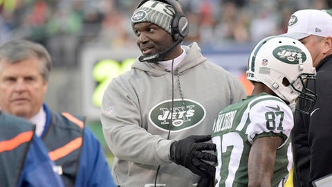 FILE - In this Sunday, Dec. 3, 2017, file photo, New York Jets head coach Todd Bowles directs players on the sideline during the second half of an NFL football game against the Kansas City Chiefs in East Rutherford, N.J. The Jets face the Denver Broncos, who have lost eight straight games, on Sunday in Denver. (AP Photo/Bill Kostroun, File)