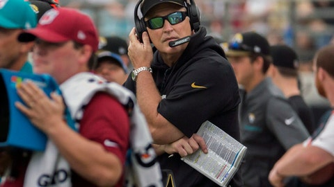 FILE - In this Dec. 3, 2017, file photo, Jacksonville Jaguars head coach Doug Marrone waits as officials review a play during the second half of an NFL football game against the Indianapolis Colts in Jacksonville, Fla. The Jaguars are to face the Seattle Seahawks on Sunday, Dec. 10, 2017. (AP Photo/Stephen B. Morton, File)