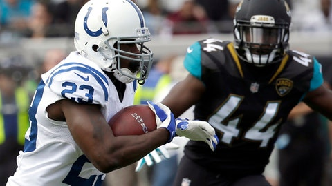 FILE - In this Dec. 3, 2017, file photo, Indianapolis Colts running back Frank Gore (23) runs past Jacksonville Jaguars linebacker Myles Jack (44) for a short gain during the first half of an NFL football game in Jacksonville, Fla. Buffalo Bills' LeSean McCoy thinks so highly of Gore, he is prepared to give the Colts veteran the jersey of his back after the Bills host Indianapolis on Sunday Dec. 10, 2017. (AP Photo/John Raoux, File)