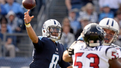 FILE - In this Dec. 3, 2017, file photo, Tennessee Titans quarterback Marcus Mariota (8) passes against the Houston Texans in the second half of an NFL football game in Nashville, Tenn. The Titans never have played at University of Phoenix Stadium, home of the Arizona Cardinals, but Mariota has, though. (AP Photo/Mark Zaleski)