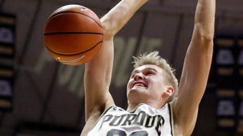 Purdue forward Matt Haarms dunks against Valparaiso during the second half of an NCAA college basketball game in West Lafayette, Ind., Thursday, Dec. 7, 2017. (AP Photo/Michael Conroy)