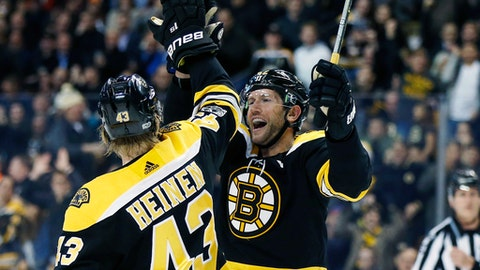 Boston Bruins' David Backes (42) celebrates his goal with teammate Danton Heinen (43) during the second period of an NHL hockey game against the Arizona Coyotes in Boston, Thursday, Dec. 7, 2017. (AP Photo/Michael Dwyer)