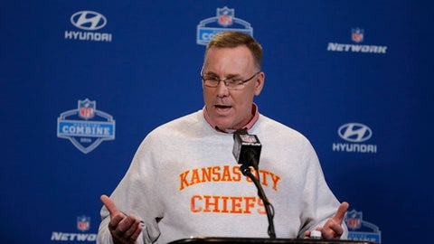 FILE - In this Feb. 25, 2016, file photo, Kansas City Chiefs general manager John Dorsey speaks during a news conference at the NFL football scouting combine in Indianapolis. The Cleveland Browns have hired former Kansas City general manager Dorsey as their new GM.  (AP Photo/Michael Conroy, File)