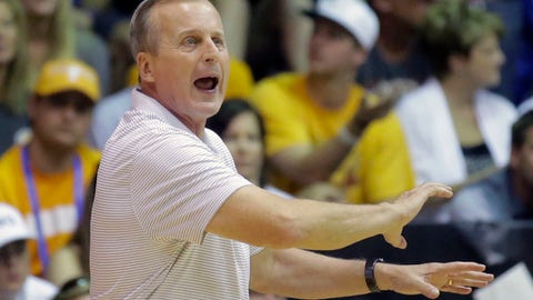 FILE - In this Nov. 22, 2016 file photo, Tennessee head coach Rick Barnes shouts to his team in the first half during an NCAA college basketball game against the Oregon in the Maui Invitational in Lahaina, Hawaii. Amid the chaos of Tennessee's search for a football coach, comes good news for frustrated fans: basketball. The Tennessee men's team is back in the Top 25 for the first time since December 2010 and carries a No. 24 ranking into its home game with Lipscomb on Saturday, Dec. 9, 2017 . (AP Photo/Rick Bowmer, File)