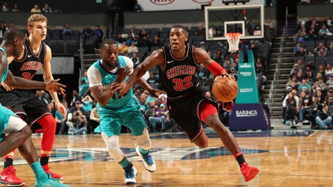 CHARLOTTE, NC - DECEMBER 8: Kris Dunn #32 of the Chicago Bulls handles the ball against the Charlotte Hornets on December 8, 2017 at Spectrum Center in Charlotte, North Carolina. NOTE TO USER: User expressly acknowledges and agrees that, by downloading and or using this photograph, User is consenting to the terms and conditions of the Getty Images License Agreement.  Mandatory Copyright Notice:  Copyright 2017 NBAE (Photo by Kent Smith/NBAE via Getty Images)