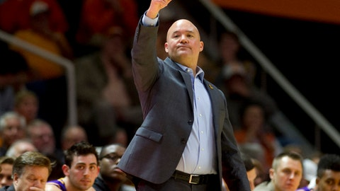 Lipscomb head coach Casey Alexander calls out to his team in the first half of an NCAA college basketball game against Tennessee, Saturday, Dec. 9, 2017 in Knoxville, Tenn. (AP Photo/Calvin Mattheis)