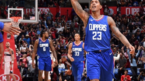 LOS ANGELES, CA - DECEMBER 9: Lou Williams #23 of the LA Clippers reacts during the game against the Washington Wizards on December 9, 2017 at STAPLES Center in Los Angeles, California. NOTE TO USER: User expressly acknowledges and agrees that, by downloading and/or using this Photograph, user is consenting to the terms and conditions of the Getty Images License Agreement. Mandatory Copyright Notice: Copyright 2017 NBAE (Photo by Andrew D. Bernstein/NBAE via Getty Images)