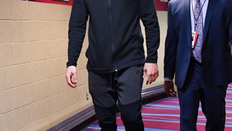 CLEVELAND, OH - DECEMBER 9:  Kevin Love #0 of the Cleveland Cavaliers arrives before the game against the Philadelphia 76ers on December 9, 2017 at Quicken Loans Arena in Cleveland, Ohio.  NOTE TO USER: User expressly acknowledges and agrees that, by downloading and or using this Photograph, user is consenting to the terms and conditions of the Getty Images License Agreement. Mandatory Copyright Notice: Copyright 2017 NBAE (Photo by Jesse D. Garrabrant/NBAE via Getty Images)