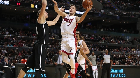 MEXICO CITY, MEXICO - DECEMBER 9: Goran Dragic #7 of the Miami Heat goes to the basket against the Brooklyn Nets as part of the NBA Mexico Games 2017 on December 9, 2017 at the Arena Ciudad de México in Mexico City, Mexico. NOTE TO USER: User expressly acknowledges and agrees that, by downloading and/or using this photograph, user is consenting to the terms and conditions of the Getty Images License Agreement.  Mandatory Copyright Notice: Copyright 2017 NBAE (Photo by Issac Baldizon/NBAE via Getty Images)