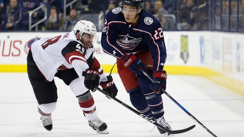Columbus Blue Jackets' Sonny Milano, right, carries the puck upice as Arizona Coyotes' Jordan Martinook defends during the second period of an NHL hockey game Saturday, Dec. 9, 2017, in Columbus, Ohio. (AP Photo/Jay LaPrete)