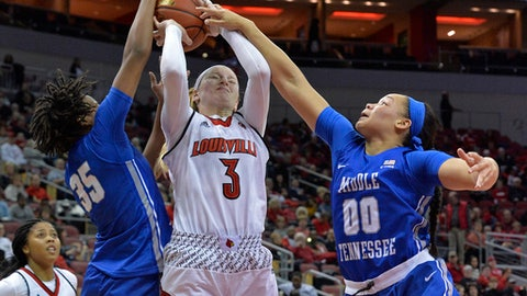 Middle Tennessee forward Charity Savage (35) and forward Alex Johnson (00) attempt to block the shot of Louisville forward Sam Fuehring (3) during the second half of an NCAA college basketball game, Saturday, Dec. 9, 2017, in Louisville, Ky. Louisville won 80-26. (AP Photo/Timothy D. Easley)