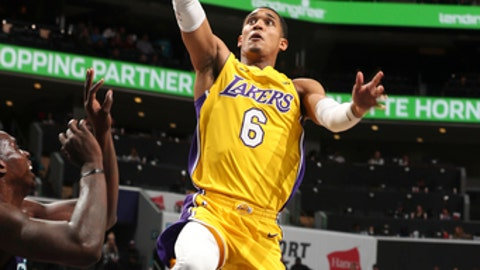 CHARLOTTE, NC - DECEMBER 9: Jordan Clarkson #6 of the Los Angeles Lakers shoots the ball against the Charlotte Hornets on December 9, 2017 at the Spectrum Center in Charlotte, North Carolina. NOTE TO USER: User expressly acknowledges and agrees that, by downloading and or using this photograph, User is consenting to the terms and conditions of the Getty Images License Agreement.  Mandatory Copyright Notice:  Copyright 2017 NBAE (Photo by Kent Smith/NBAE via Getty Images)