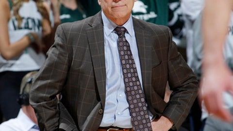 Michigan State coach Tom Izzo reacts during the second half of the team's NCAA college basketball game against Southern Utah, Saturday, Dec. 9, 2017, in East Lansing, Mich. Michigan State won 88-63. (AP Photo/Al Goldis)