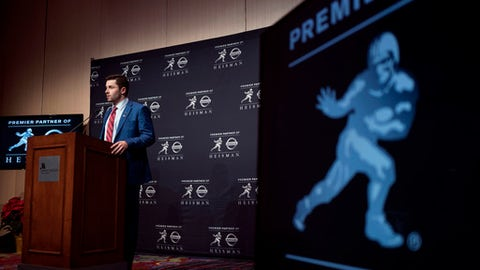 Oklahoma quarterback Baker Mayfield, winner of the Heisman Trophy, attends a news conference after winning the award Saturday, Dec. 9, 2017, in New York. (AP Photo/Craig Ruttle)