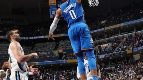 MEMPHIS, TN - DECEMBER 9:  Russell Westbrook #0 of the Oklahoma City Thunder goes to the basket against the Memphis Grizzlies on December 9, 2017 at FedExForum in Memphis, Tennessee. NOTE TO USER: User expressly acknowledges and agrees that, by downloading and or using this photograph, User is consenting to the terms and conditions of the Getty Images License Agreement. Mandatory Copyright Notice: Copyright 2017 NBAE (Photo by Joe Murphy/NBAE via Getty Images)