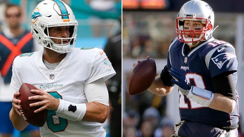 FILE - At left, in an Oct. 22, 2017, file photo, Miami Dolphins quarterback Jay Cutler (6) looks to pass during the first half of an NFL football game against the New York Jets, in Miami Gardens, Fla. At right, in a Nov. 26, 2017, file photo, New England Patriots quarterback Tom Brady rolls out to pass against the Miami Dolphins during the first half of an NFL football game, in Foxborough, Mass. New England plays at Miami on Monday night, Dec. 11. (AP Photo/File)