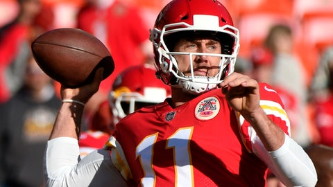 Kansas City Chiefs quarterback Alex Smith (11) throws during warmups before an NFL football game against the Oakland Raiders in Kansas City, Mo., Sunday, Dec. 10, 2017. (AP Photo/Ed Zurga)
