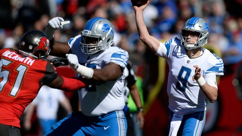 Detroit Lions quarterback Matthew Stafford (9) throws a pass against the Tampa Bay Buccaneers during the first half of an NFL football game Sunday, Dec. 10, 2017, in Tampa, Fla. (AP Photo/Jason Behnken)