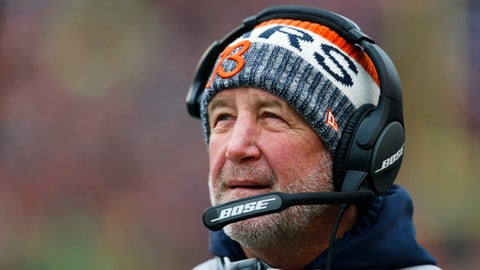 Chicago Bears head coach John Fox works the sidelines in the first half of an NFL football game against the Cincinnati Bengals, Sunday, Dec. 10, 2017, in Cincinnati. (AP Photo/Gary Landers)