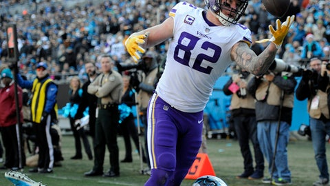Minnesota Vikings' Kyle Rudolph (82) reaches in vain for a catch in the end zone as Carolina Panthers' Mike Adams (29) defends during the first half of an NFL football game in Charlotte, N.C., Sunday, Dec. 10, 2017. (AP Photo/Mike McCarn)