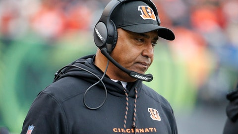 Cincinnati Bengals head coach Marvin Lewis works the sideline in the first half of an NFL football game against the Chicago Bears, Sunday, Dec. 10, 2017, in Cincinnati. (AP Photo/Frank Victores)