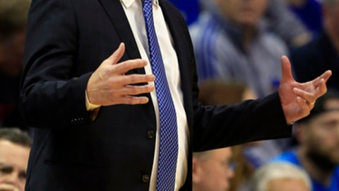 Kansas head coach Bill Self directs his team during the first half of an NCAA college basketball game against Arizona State in Lawrence, Kan., Sunday, Dec. 10, 2017. (AP Photo/Orlin Wagner)