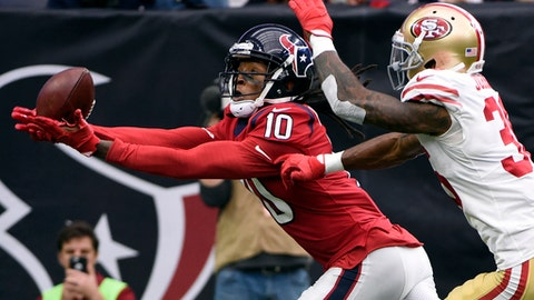 Houston Texans wide receiver DeAndre Hopkins (10) pulls in a pass for a touchdown in front of San Francisco 49ers cornerback Dontae Johnson (36) during the first half of an NFL football game Sunday, Dec. 10, 2017, in Houston. (AP Photo/Eric Christian Smith)