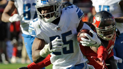 Detroit Lions running back Theo Riddick (25) runs 18-yards for a touchdown against the Tampa Bay Buccaneers during the second half of an NFL football game Sunday, Dec. 10, 2017, in Tampa, Fla. (AP Photo/Steve Nesius)