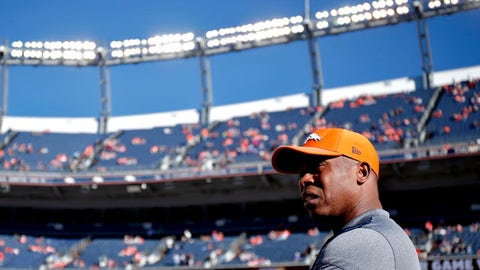 Denver Broncos head coach Vance Joseph watches his players prior to an NFL football game against the New York Jets, Sunday, Dec. 10, 2017, in Denver (AP Photo/Jack Dempsey)
