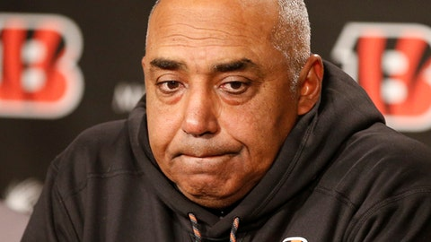 Cincinnati Bengals head coach Marvin Lewis speaks during a news conference following an NFL football game against the Chicago Bears, Sunday, Dec. 10, 2017, in Cincinnati. (AP Photo/Gary Landers)